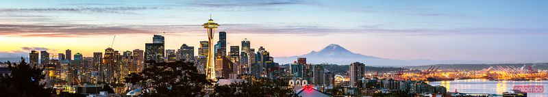 The Space Needle and skyline panoramic, Seattle, USA