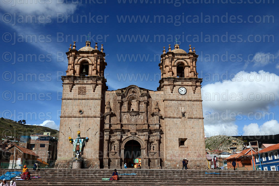 Cathedral entrance facade, Plaza de Armas, Puno, Peru