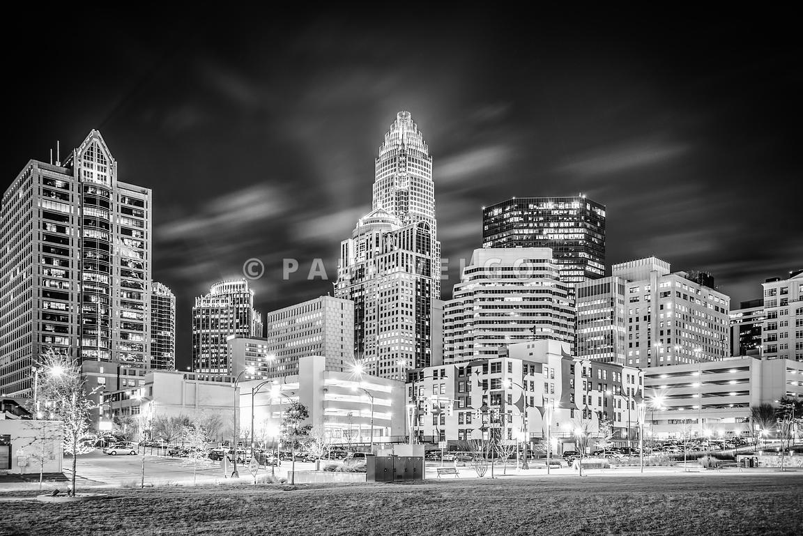 Charlotte Cityscape Black and White Photo