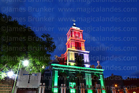San Roque church lit up with the colours of the national flag, Tarija, Bolivia