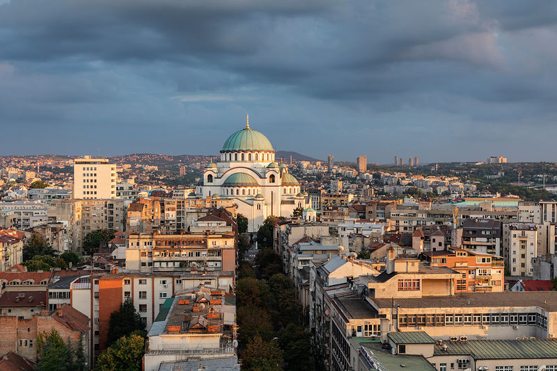 Elevated View of the Cathedral of Saint Sava at Sunset