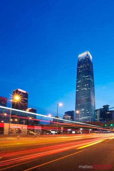 Skyscraper at night in Chaoyang district, Beijing CBD, China
