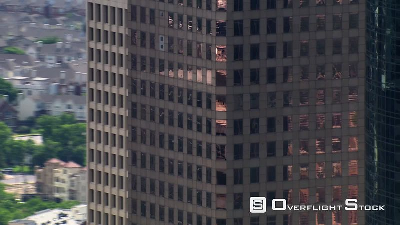 Close flight past crowding skyscrapers