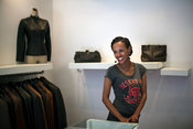 Ethiopia - Addis Ababa - A portrait of a shop girl that works in a fashionable boutique in a new mal.