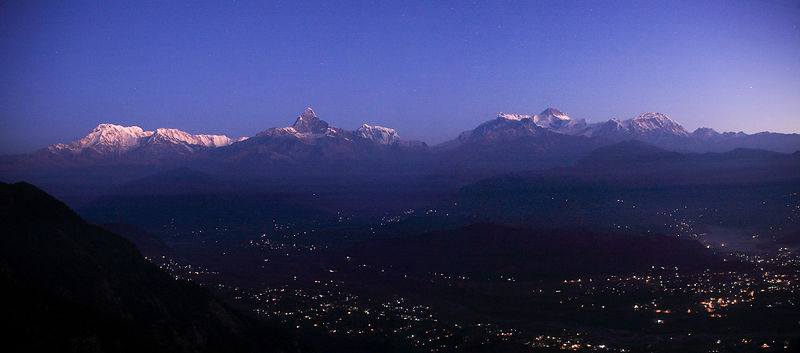 Lumière de Sarangkot et Machapuchare Annapurna Népal / Light of Sarangkot and Machapuchare Annapurna Nepal
