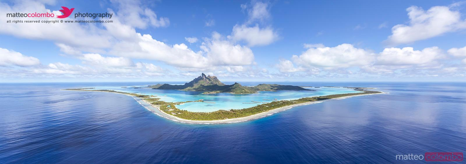 Panoramic aerial view of Bora Bora island, French Polynesia