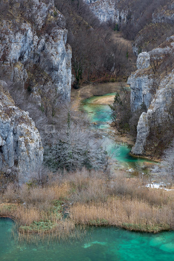 Limestone gorge, Plitvice Lakes National Park, Croatia. January.