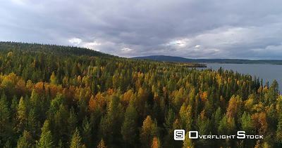 Autumn Color Forrest, Aerial View Over Colorful Autumn Trees, Towards Savijarvi Lake and Fjeld Tunturi Peaks, on a Sunny and ...