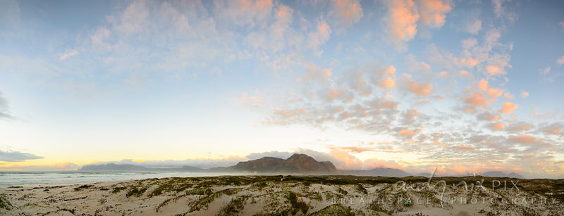 Cape Peninsula from Muizenberg Beach at sunrise