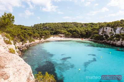 Cala Turqueta beach in summer, Menorca, Spain