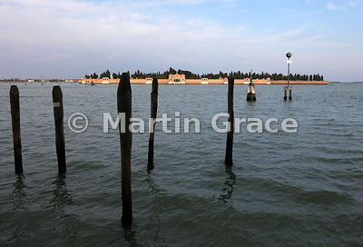 Cemetery island of San Michele from Fondamente Nuove, Venice, Italy