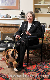 29th January, 2013. Baroness Diana Wrangle Connolly Carew photographed with her dog 'Annie' at her home in Oberstown, Tara, C...