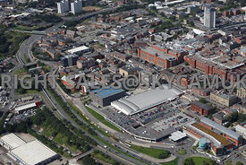 Oldham aerial photograph of Oldham town centre and Sainsburys Supermarket and the University Campus Cromwell Street and Union...