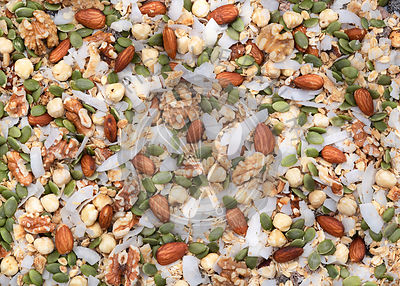 Mixture of dried coconut, pepita seeds and nuts; background.