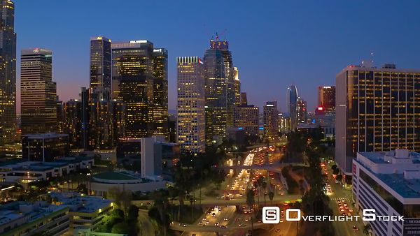 Downtown Los Angeles Aerial Night Buildings With Lights With Traffic Sunset California