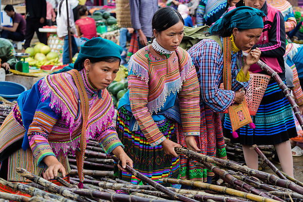 Flower Hmong Women Buying Sugar Cane