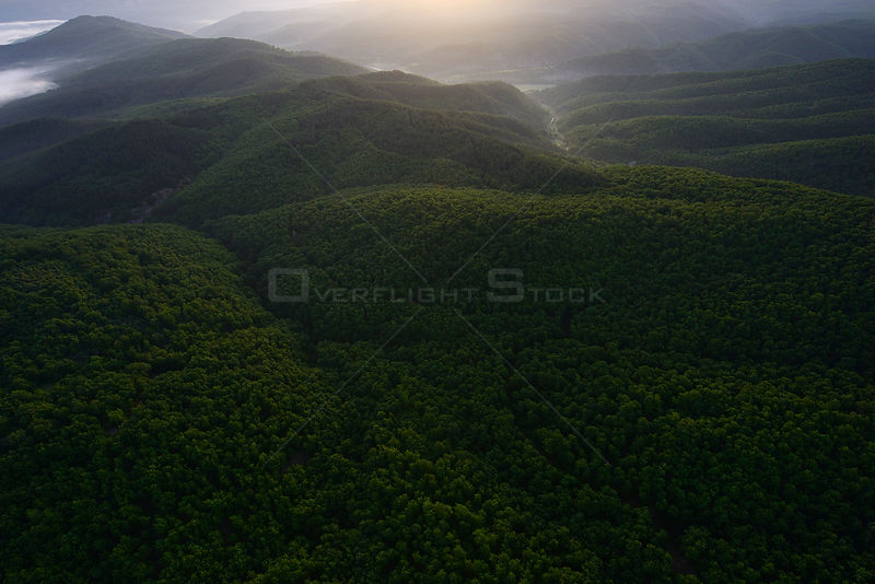 Aerial view over the Arda river canyon, Madzharovo, Eastern Rhodope Mountains, Bulgaria, May 2013.