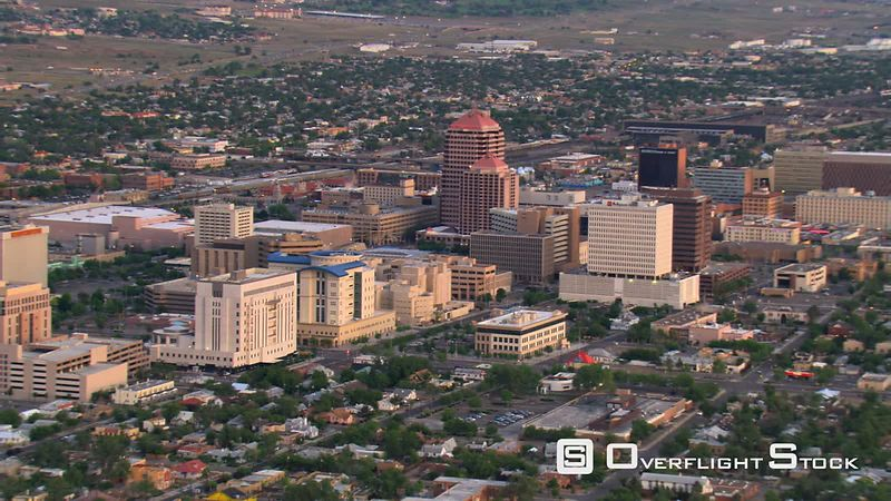 Mid-level flight past downtown Albuquerque.