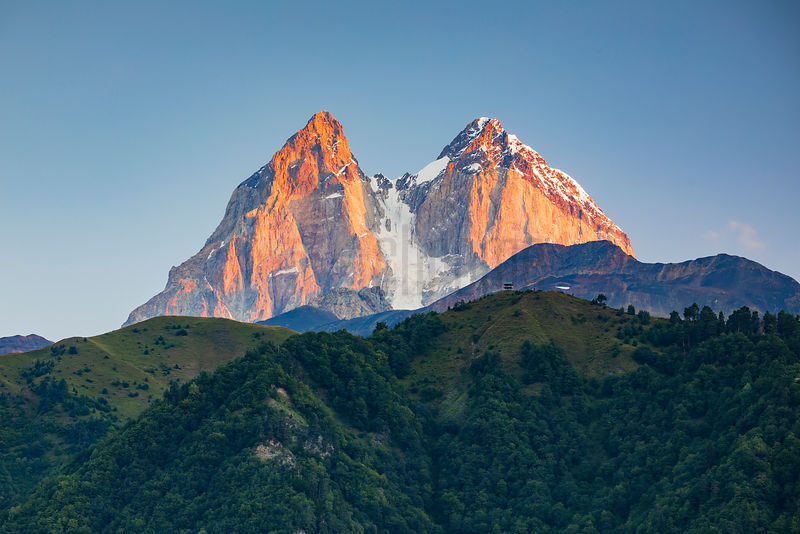 The Twin Peaks of Mt Ushba at Sunrise