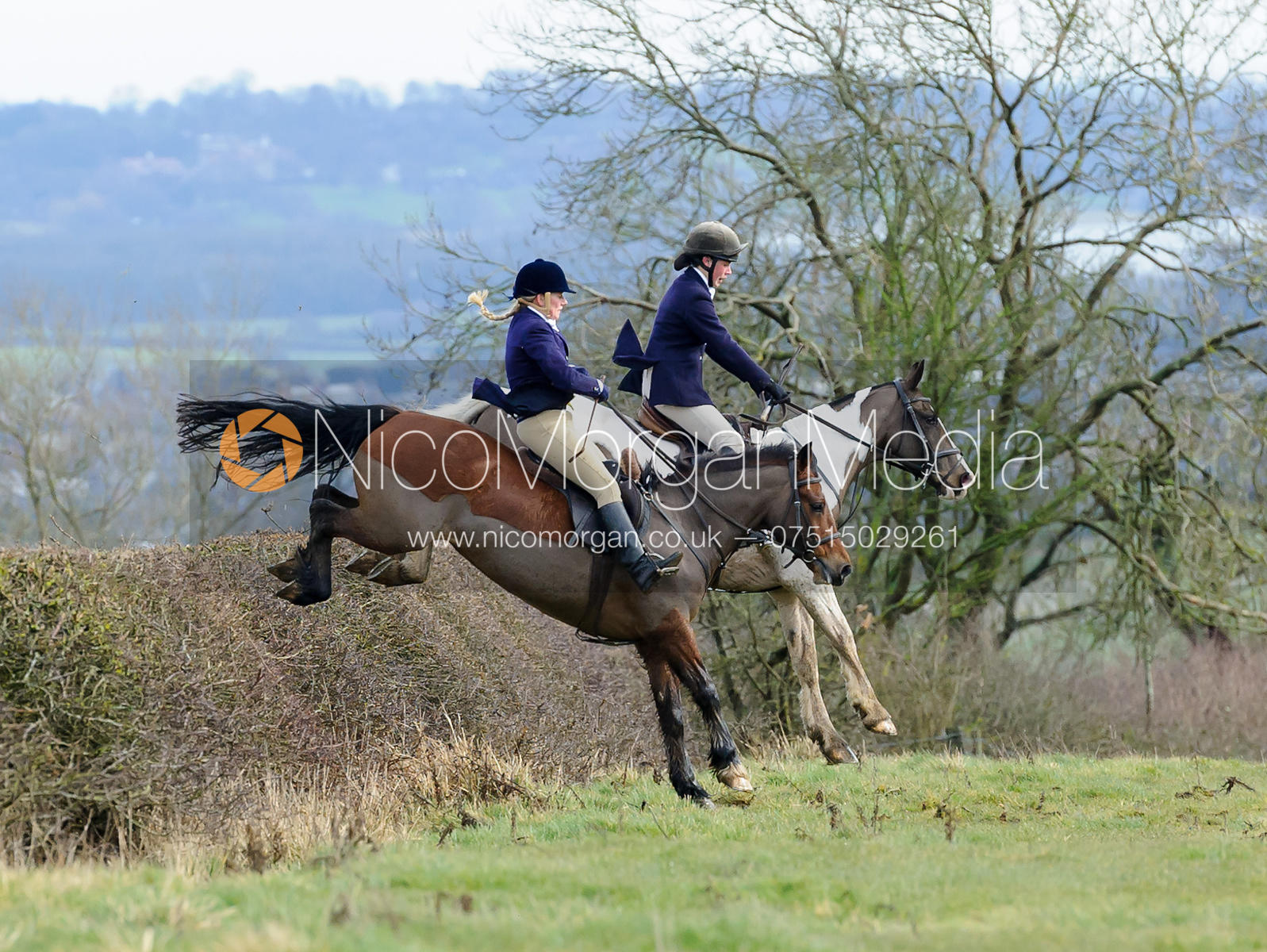 Sophie Walker jumping a hedge above Wilson's covert