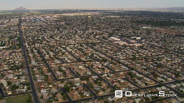 Wide view of the outskirts of Phoenix with downtown in distance.