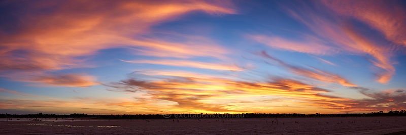 Sunset over dry salt flat, north West Victoria, Australia.