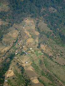 NEPAL Nr Kathmandu -- 16 Apr 2005 -- Aerial photo of terraced farmland near Kathmandu