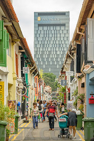 SINGAPORE CITY, SINGAPORE - OCTOBER 08, 2016:  Haji Lane is a popular place for tourists.  It has lots of stores with various...