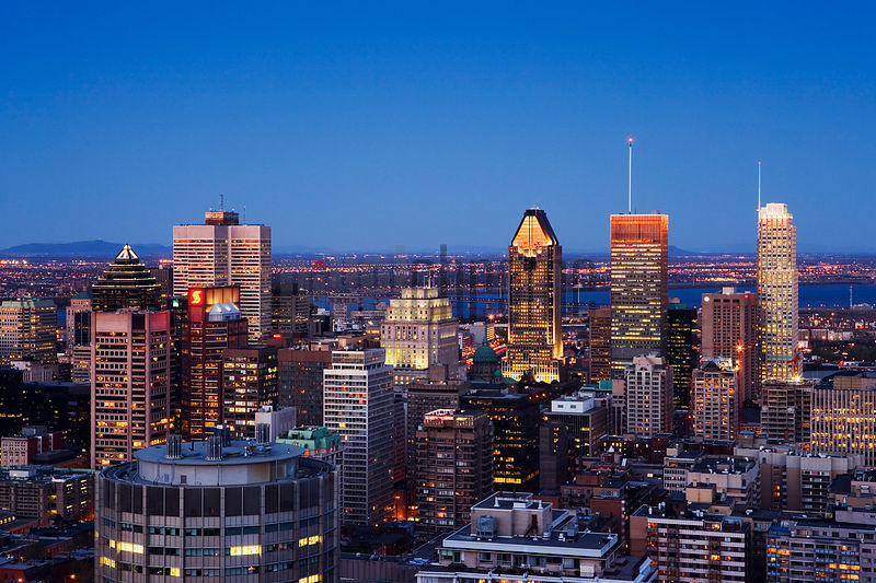 Montreal Skyline at dusk from Mount Royal, Montreal, Quebec, Canada