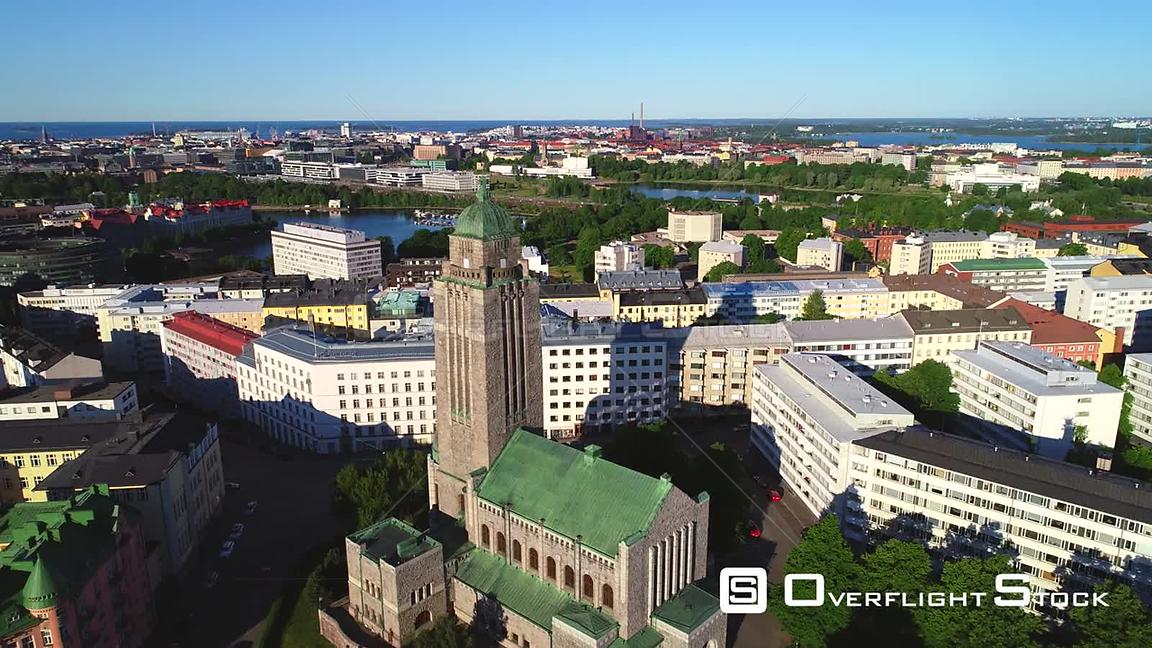 Helsinki Church, Uhd Aerial View Over the Kallio Cathedral, Revealing the City, on a Sunny Summer Morning Dawn, in Helsingfor...