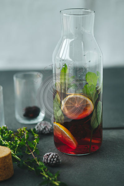 Aromatic water with berries and lemon