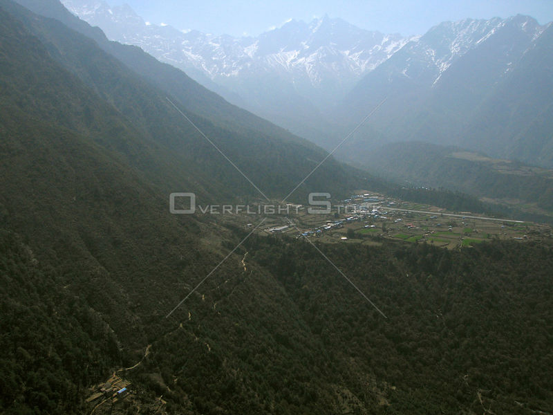 NEPAL Lukla -- 16 Apr 2005 -- Aerial photograph of the trail north of Lukla (looking west), the gateway by air to the Solu Kh...