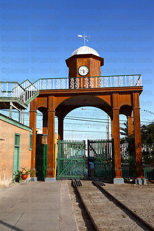 Clock tower over entrance to terminal of Tacna to Arica railway , Tacna , Peru