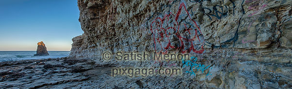Sea Stack and Hill side with Graffiti, Davenport, CA, USA