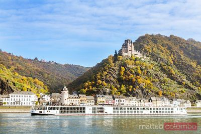 Passenger boat on the river Rhine, near Burg Katz, Germany