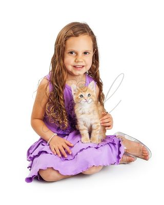 Girl and Kitten Together Looking Into Camera