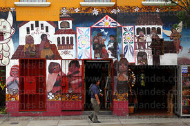 Mural on wall of handicraft shop, Miraflores, Lima, Peru