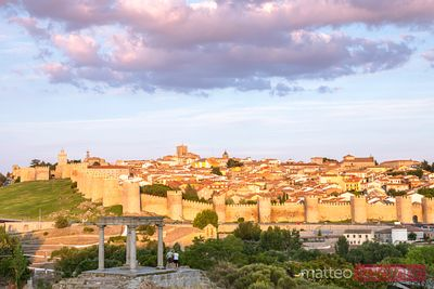 Ancient walls and old town at sunset, Avila, Spain