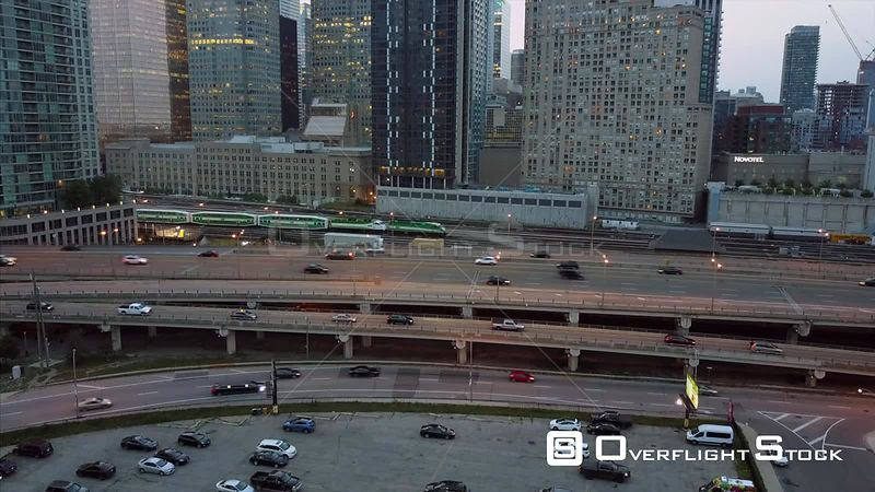 Gardiner Expressway Dusk Look During Solar Eclipse. Drone Video DowntownToronto Ontario Canada