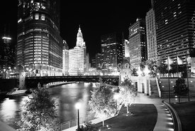 Chicago River Buildings at Night in Black and White