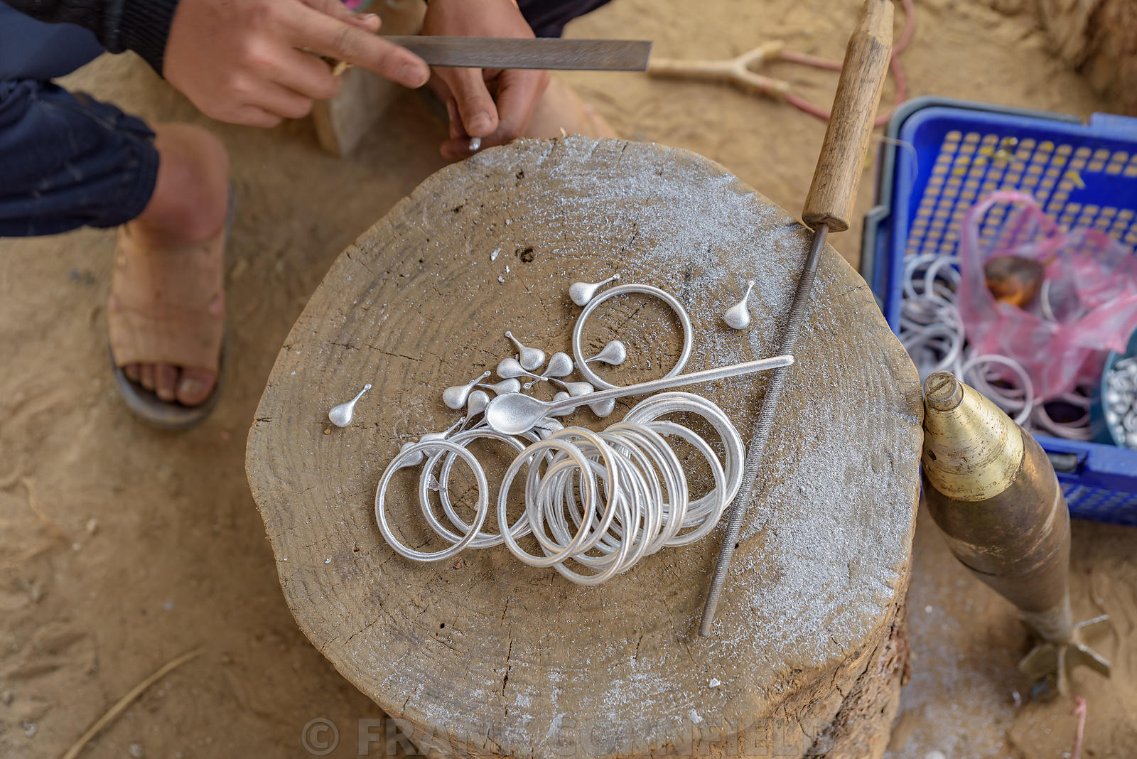 Locals in Laos make cutlery and jewellery using scrap aluminium salvaged from unexploded ordnance dropped during the U.S. sec...