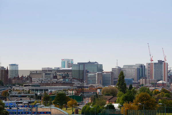 Cityscape of Birmingham city centre, West Midlands.