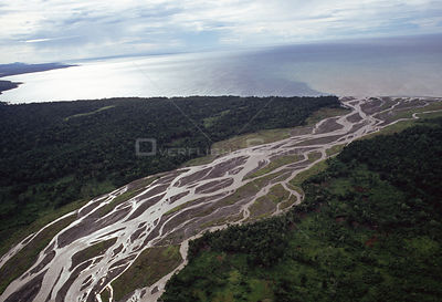 Aerial view of river estuary and delta near Lae, Papua New Guinea