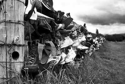 Shoe fence, New Zealand.