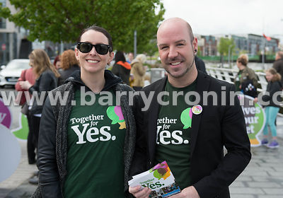 NO REPRO FEES - 11th May, 2018. Pictured at the 'Get Together For Yes' tour at Limerick city were volunteers and supporters C...