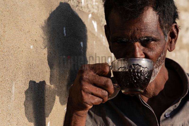 Negombo Fisherman Drinking a Cup of Tea