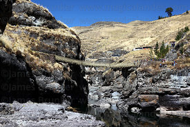 Newly rebuilt Inca rope suspension bridge across the Apurimac River at Q'eswachaka, Canas province, Cusco Region, Peru