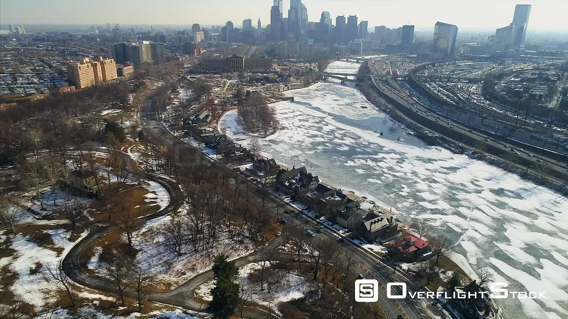 Winter view of the Schuylkill River towards Museum of Art and Downtown Philadelphia
