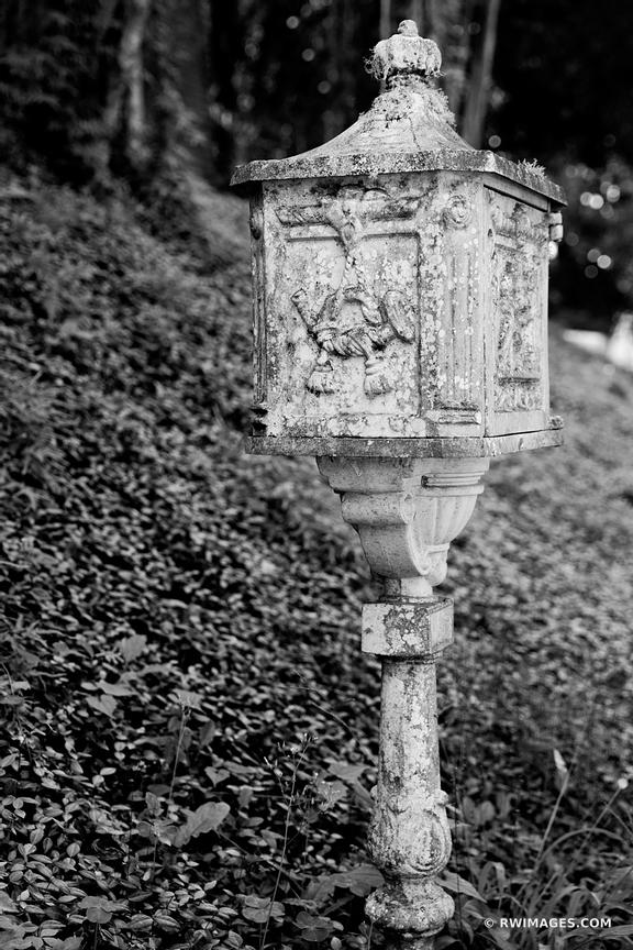 OLD IRON CAST MAILBOX ST. FRANCISVILLE LOUISIANA BLACK AND WHITE