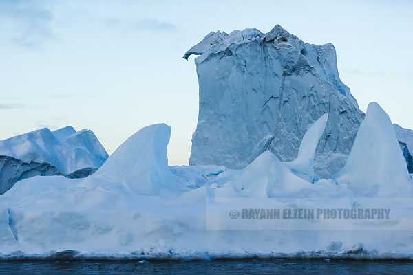 An elephant head shaped iceberg in the Ilulissat Icefjord in Greenland